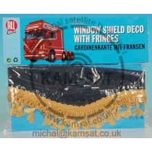 ALL RIDE WINDSREEN TRUCK VAN CURTAIN STYLE FRINGES BLUE GOLD