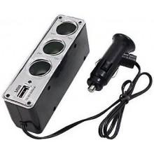 3 SOCKETS Cigarette Lighter Socket Splitter DC Power Car Adapter USB Port UK 2