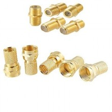 4x Gold Tone Screw  F Type And 2x Gold Barrer Cable Connect