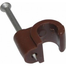 Round White Coaxial Cable Clip Satellite, Dish , HIGH QUALITY Brown 7mm