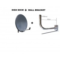 SATELLITE DISH ANTENNA HD 80 CM MOUNT BRACKET 40CM F080 CORAB GRAPHITE 4K HDTV